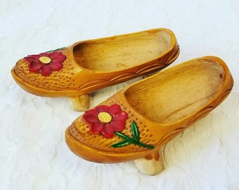 """Handmade Wooden Carved Chinese Asian Shoes ~ Wood Carved Child's or Large Doll Shoes ~ 5"""" Long ~ Unusual Style and Shape ~ Geisha Training"""