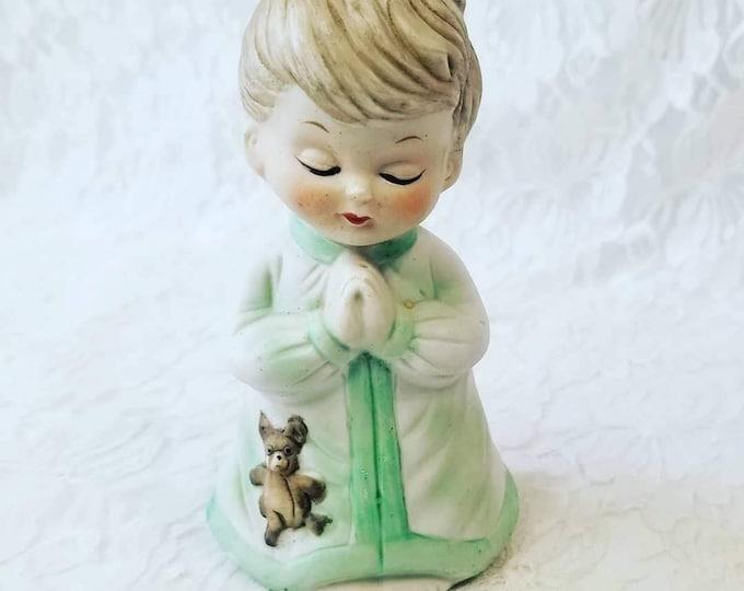 Cute Vintage Ceramic Little Boy Praying Night Light ~ Nursery Lamp ~ Needs Cord ~ As-Is