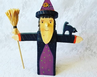 "Primitive Resin Halloween Witch ~ NCE Brand ~ Stand Up Decoration Decor Ornament Figure Sign 9.5"" tall ~ Fall Decor ~ Halloween Decoration"