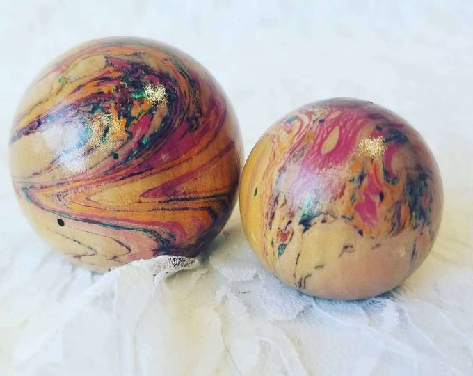 Set of Two (2) Wooden Globes Spheres with Opalized Streaks ~ Petrified Wood?  Art?  These are SIGNED Underneath