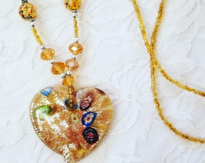 Millefiori Murano Yellow Foiled Glass Heart Shaped Pendant Necklace with Venetian Glass Beads Boho Bohemian Necklace