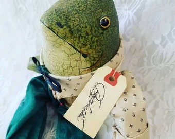 Handmade Primitive Mr. Frog by Judy Wachlin ~ Doll Artist in Bothell, WA ~ Painted Oilcloth Fabric Textile Rag Doll