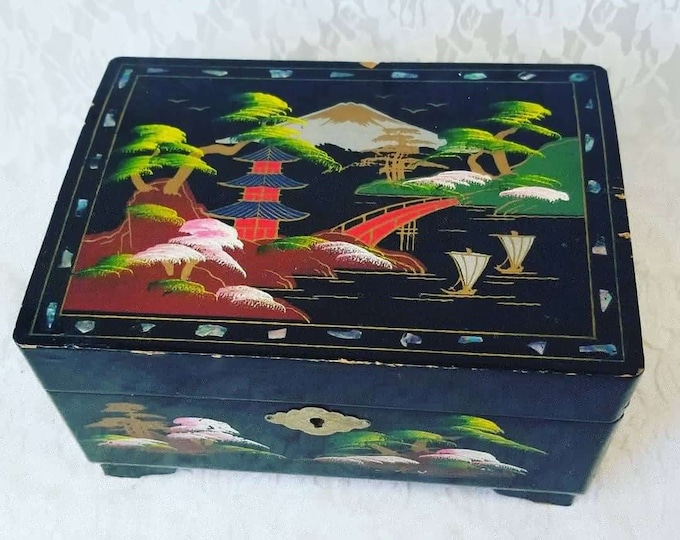 Vintage Japanese Hand Painted Black Lacquered Abalone Inlay Jewelry Box ~ Mount Fiji Scene ~ Music Box Works Great! Mid Century Design