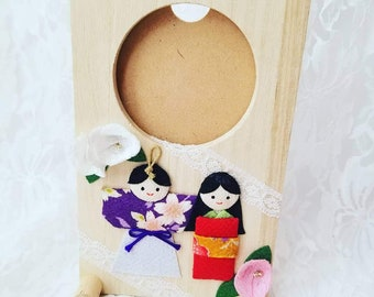 Clearance! Wooden Japanese Kawaii 3D Picture Frame ~ Slot Photo Frame for 3 by 3 inch Picture ~ Made in Japan ~ Geisha Girls