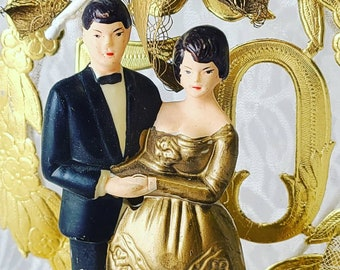 Vintage 1950s Celluloid 50th Anniversary Cake Topper ~ Bride and Groom ~ Pedestal Display ~ Anniversary Gift ~ Grandparents Gift