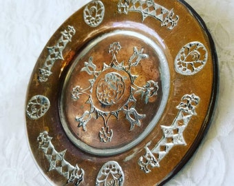 """Decorative Plate ~ Handmade ~ Carved Copper over Tin? Pewter? Heavy! ~ Metal Decorative ~5"""" wide ~ Wall Hanging Plate"""