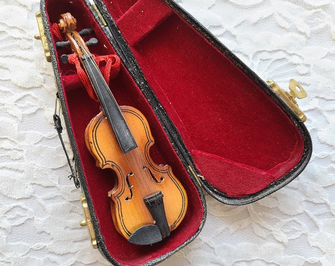 "Doll Sized 1/6 Scale BJD Violin ~ Perfect for 18"" Doll Display ~ Doll Accessories ~ Doll Musical Instrument"