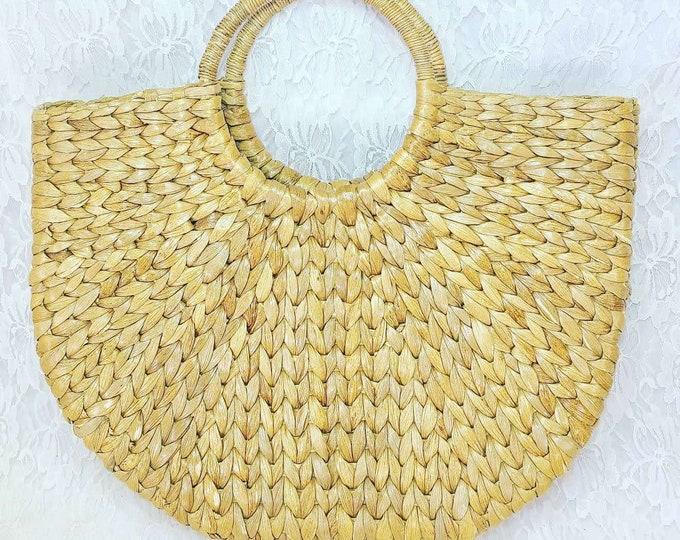 Vintage 1950's Style ROCKABILLY Straw Wicker Box Clutch Purse Handbag ~ Putu By J. MacLear ~ Handmade In Indonesia