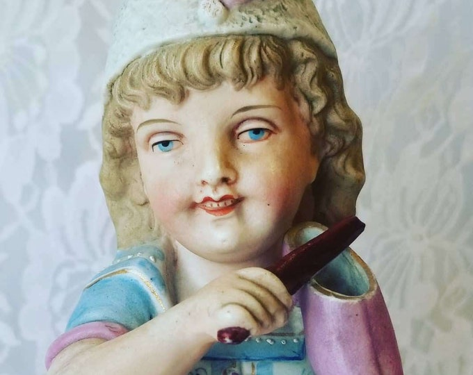 "Antique Heubach? Heavy 10"" Bisque German Boy Figurine ~ Unmarked ~ Art Nouveau ~ Statue, Figurine ~ Very Well Made"