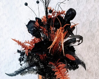 "Large 24"" Halloween Arrangement Centerpiece Halloween Decor ~ Skulls Faux Silk Floral Arrangement ~ Fall Decorations ~ Floral Arrangement"