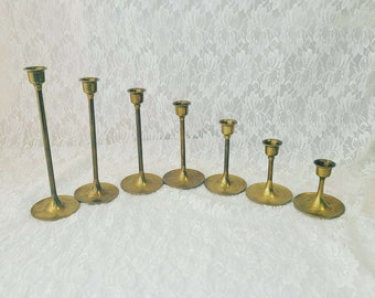 """7 Piece Brass Candle Stick Holders Christmas weddings Graduated 3"""" - 9"""" ~ Perfect for Spell work ~ Yule Alter"""