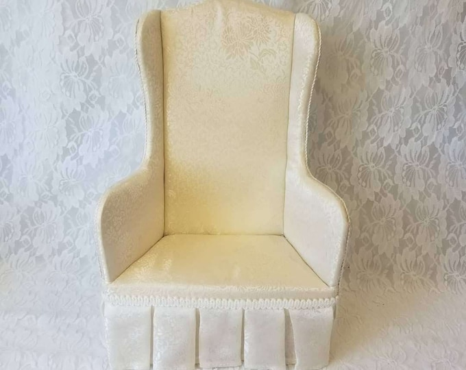 """Vintage Cream Fancy Wingback Upholstered Doll Chair ~ American Girl Size and Larger ~ 15"""" high 10"""" wide 6"""" deep ~ For Doll Display"""