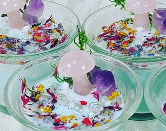Spring New Moon Manifestation Candles w/Rose Quartz MUSHROOMS ~ Spellcast Soy Wax Candle & Charged Crystals ~ Renewal ~ Rebirth