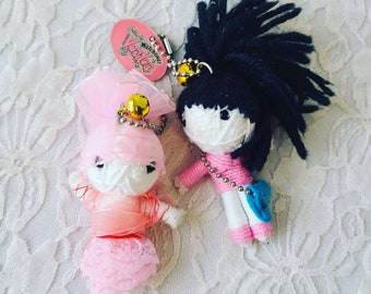 """Set of Two (2)  Vintage 5"""" Voodoo Keychain Dolls 1990s Collectibles ~ Vintage Key Chains"""