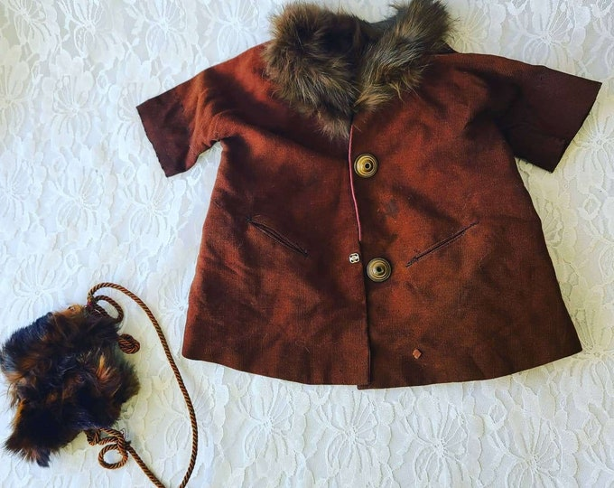 "Amazing 1930s LARGE Doll Brown Twill HANDMADE Real Mink Fur Overcoat Jacket and Muff for Antique Composition Doll 20-28"" Doll Clothes"