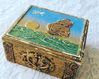 CLEARANCE 1940's Nautical Pirate Ship Hinged Cigarette Box - Cigarette Wooden Box Kum-A-Part with Sailing Ship Cuff Buttons WWII SOLD As-Is