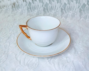 Antique Demitasse Cup & Saucer Set ~ Espresso Cup Set Made in the 1940's ~ Mid-Century Modern Minimalist Design with 22K Gold Accent Trim