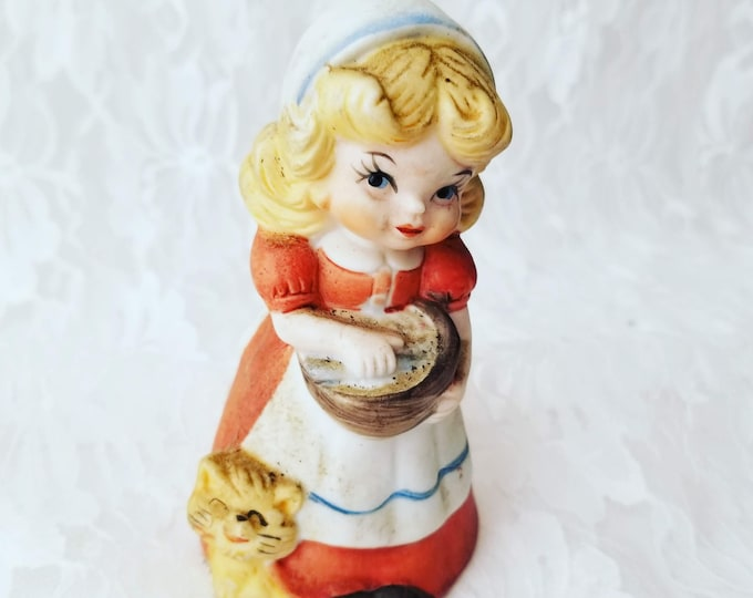 Vintage Girl with Cat Bisque Porcelain Bell ~ 1950s ~ Collectible Eggshell Porcelain Bell