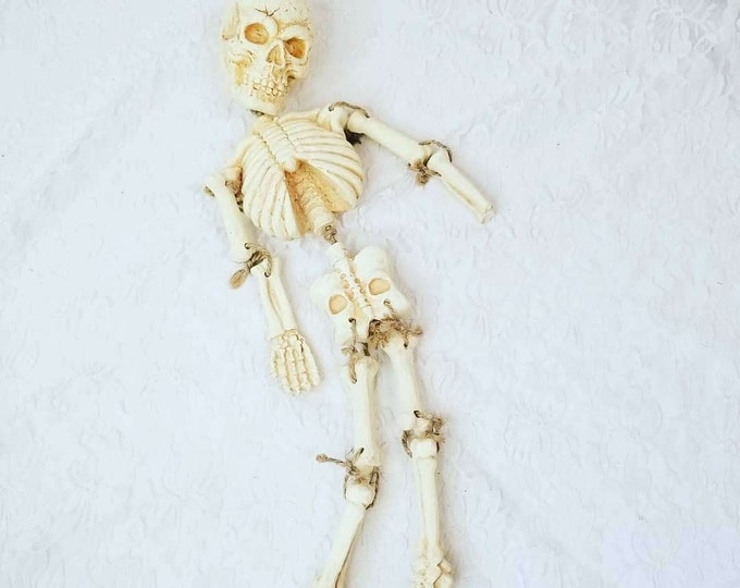 "HEAVY Resin Halloween Skeleton 19"" Decoration ~ Spooky Halloween Decor ~ Primitive Home Decor ~ Fall Decorations ~ Solid Bones!"