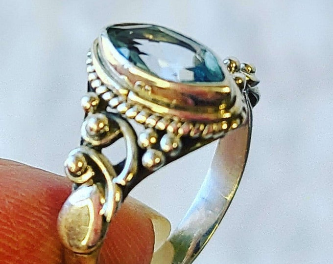 Unique Filigree Aquamarine ~ Solid Sterling Silver Marked 925 ~ Art Deco Style Ring ~ Size 6.5 ~ Stone of Courage and Protection