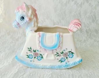 Vintage 1950s Rocking Horse Nursery Collectible Planter ~ Inarco Japan Collectible ~ Retro Vintage Nursery Decor ~ Garden ~ Baby Gift