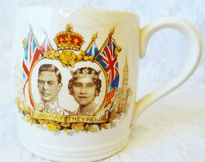 Antique! 1939 Collectible Porcelain Coffee Mug ~ King George Queen Elizabeth ~ Commemorative Visit to the Canada and US ~ Coffee Cup Mug