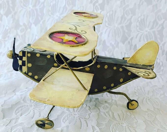 Vintage Metal Folk Art Airplane ~ Crop Duster ~ Biplane ~ Free Standing ~ Handmade ~ Gift for a Pilot