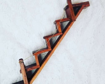 """Wooden Stairway Trinket Shelf ~ Apothecary, Crystal or Knick Knack Display ~ 16"""" ~ Perfect for Witchy Stuff"""