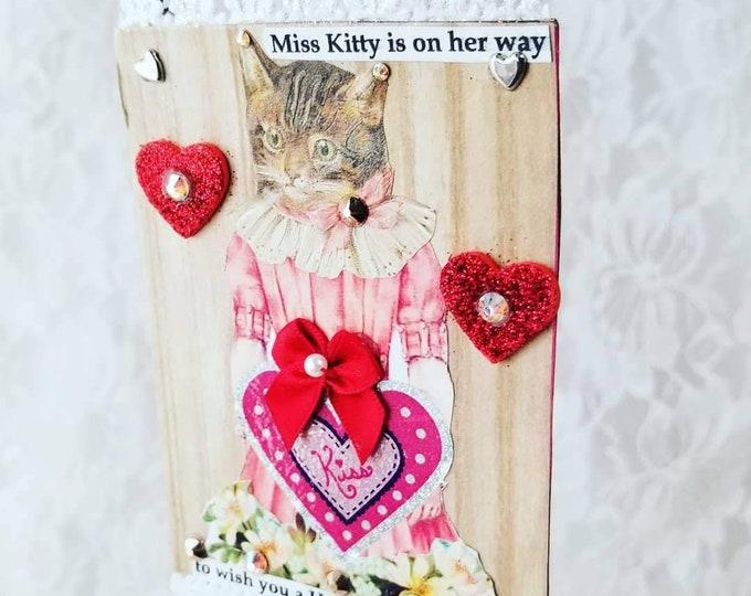 Amazing Valentine's Day Collage Art Hanging Card Signed By Artist Donna Sue Martz ~ Assemblage Art ~ Victorian Cat