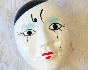 1980s Beautiful French Mime Pierrot Harlequin Clown Face Trinket Box ~ Porcelain Container ~ Gift Box