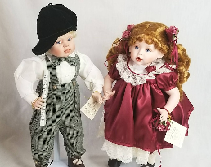 Set of 2 Dolls ~ Amazing 'Kisses & Jacques, Love at First sight' Porcelain dolls by FayZah Spanos ~ NRFB