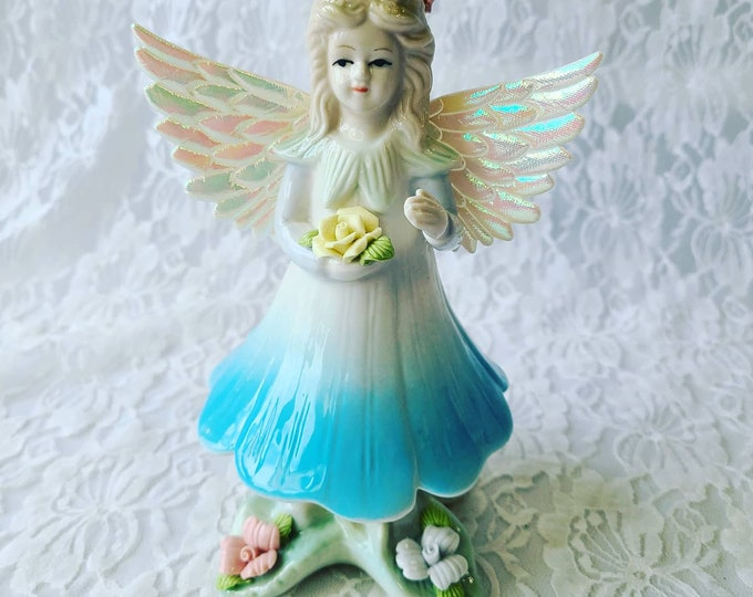 Adorable Angel  Figurine with Iridescent Nylon Wings ~ Gift for Girl ~ Cold Form Porcelain Flowers ~ Cute!