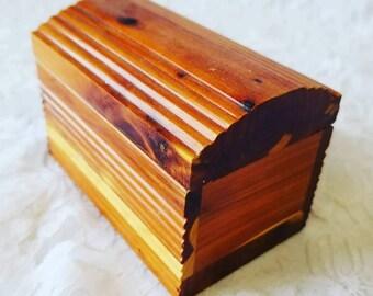 Cedar Chest ~ Wooden Jewelry Box Treasure Chest Wood ~ Watch or Bracelet Box ~ Altarpiece ~ Doll Sized Chest ~ Cedar Wood