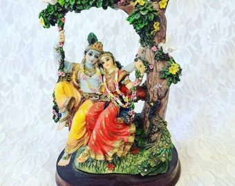 """Lord Krishna and Rahda Resin Statue ~ Hindu ~ God of Wisdom, Success and Good Luck ~ India ~ Size 8.5"""" ~ Altar ~ House Blessing"""