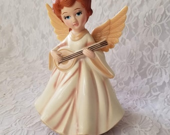 """Musical Plastic 1960s Christmas Angel ~  Collectible Music Box ~ Plays """"Silent Night"""""""