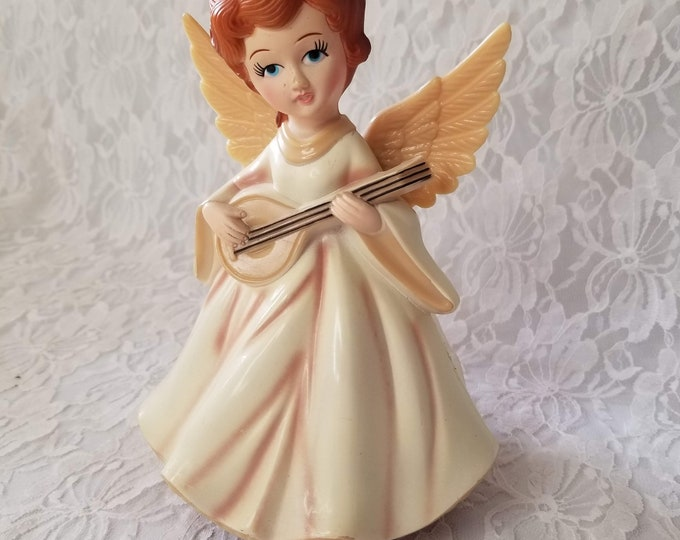 "Musical Plastic 1960s Christmas Angel ~  Collectible Music Box ~ Plays ""Silent Night"""