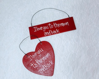Set of Two ~ Valentine's Day Wall Hanging Wood Signs ~  Hand Painted ~ Wall Hanging ~ Valentine's Day Theme