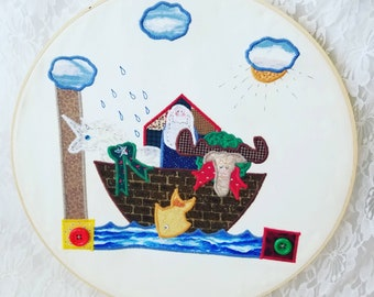 Handmade Noah's Ark with a UNICORN ~  Loop Wall Hanging ~ Excellent Condition ~ Kids Room Decor