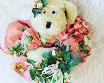 Handmade OOAK Jointed Art Bear ~ Teddy Bear with Birdhouse in Hand ~ Jointed, Handmade ~ Unique and Original