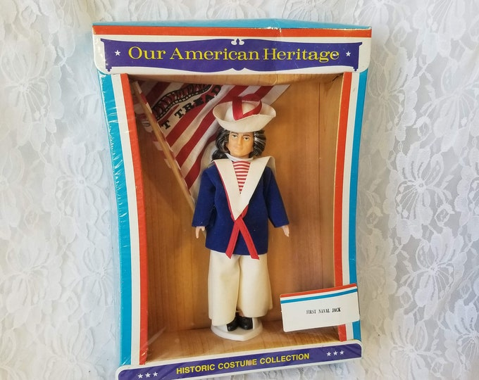 """Vintage 1976 Our American Heritage Doll ~ First Naval Jack ~ 7"""" Tall ~ Brand New in Package ~ NRFB ~ Don't Tread on Me Flag Included"""