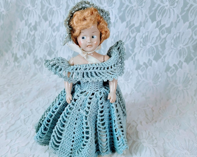 """Antique 8"""" Doll Mohair ~ Flirty Eyes ~ Crochet Dress ~ Molded Shoes ~ 1950s Storybook DOLL"""