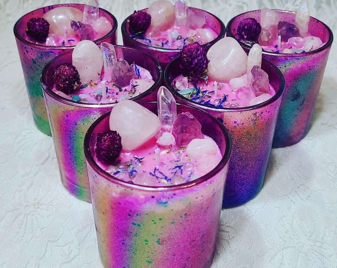 ALMOST GONE Love Spell Valentine's Day Ritual Candle ~ Spellcast Soy Wax Candle & Crystals ~ Love ~ Communication ~ Manifestation