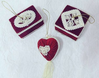 Set of Three (3) Handmade Victorian Valentine's Day, Bridal Shower, or Wedding Decorations ~ Red Velvet Ornaments