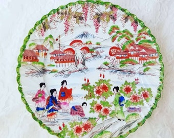 """RARE COLOR! Stunning Hand Painted Antique Kutani Geisha Plate ~ Eggshell Porcelain ~ 9"""" Dinner Display Collectible Plate"""