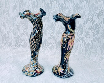 """OOAK Art Pottery Rare Unique Set of 2 Vintage Vases ~ Bohemian Art ~ Collectible Vases ~ Made in Peru? ~ 8"""" ~ Signed MD or MDN"""