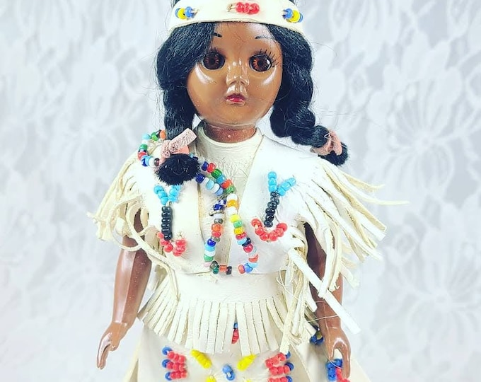 """Native American Indian 1950s Celluloid 8"""" Plastic Doll ~ Original Doll Stand ~ Real Leather Clothing ~ Souvenir Doll"""