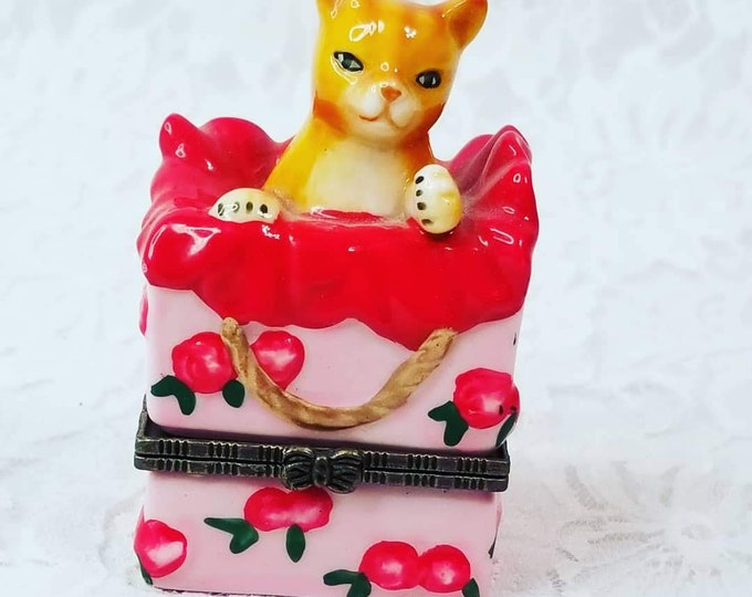 Pink Bisque Porcelain Hinged Kitty Cat Trinket Box - Comes with Porcelain Yarn ball Inside - Cat Lover's Gift Feline Cat