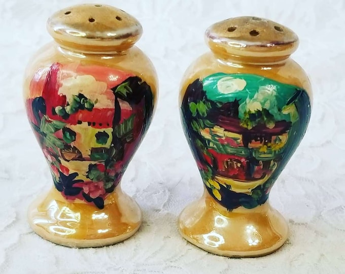 Japanese Lusterware City Scene ~ Salt & Pepper Shakers ~ Iridescent Orange ~ Cork Bottom ~ Hand Painted ~ Made in Japan 1950s