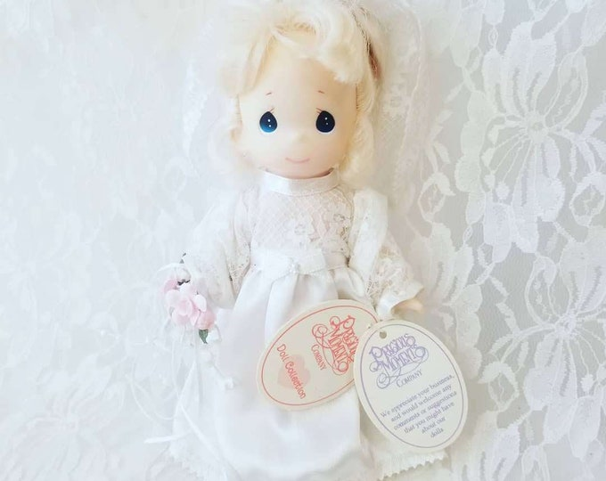 """RETIRED 1992 Precious Moments 10"""" Blonde Bride Doll Vinyl ~ Rose Art ~ Gift for Mom ~ Gift for Kid ~ With Tags ~ No Original Box"""