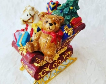 Christmas Teddy Bear on Sleigh Trinket Box ~ Vintage Christmas Decor ~ Holiday Treasure ~ Heirloom